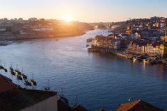 Top view of Douro river in Porto. Royalty Free Stock Photo
