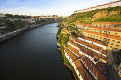 Top View of Douro river at Porto, and right coast - Vila Nova de Gaia. Royalty Free Stock Photos