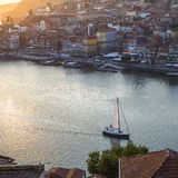 Top View of Douro river and Ribeira in historic center of Porto. Stock Image