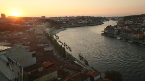 Top view of Douro river and Ribeira during sunset. stock footage