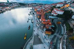 Top view of the Douro river and Ribeiro in the evening, Porto Royalty Free Stock Images