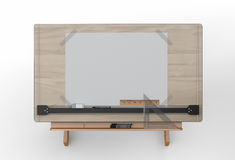Top view of drawing table with tools , clipping path included Royalty Free Stock Image