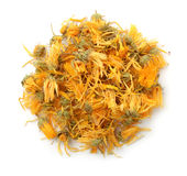 Top view of dried calendula flowers stock images