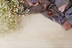 Dried flowers on wooden background. Top view of dried flowers bouquet on space copy wooden background stock photos