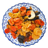 Top view of dried fruits on arabic plate Royalty Free Stock Photos