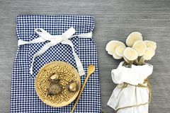 Top view of dried shiitake mushrooms in wooden dish on tablecloth and Oyster mushrooms. Royalty Free Stock Photos