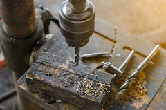 Top view of Drill press Royalty Free Stock Images