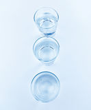 Top of view of drink glasses with water, nutrition and health-care concept Stock Images