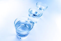 Top of view of drink glasses with water, nutrition and health-care concept Royalty Free Stock Photos