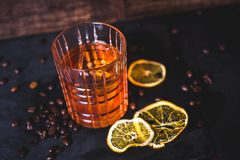 Top view of a drink with ice in a crystal glass. royalty free stock image