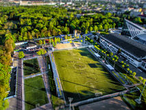 Top view from the drone to the sports grounds, football field Royalty Free Stock Image