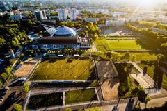 Top view from the drone to the sports grounds, football field Royalty Free Stock Photos