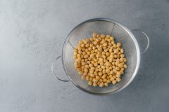 Top view of dry fresh chickpeas or garbanzo in sieve. Organic ingredient. Healthy product full of protein and vitamins. Garbanzo. For vegans royalty free stock photos