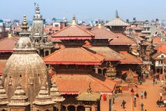 Top view of the Durbar Square in Kathmandu Royalty Free Stock Image