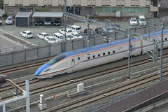 Top view of E7 Series bullet (High-speed or Shinkansen) train Royalty Free Stock Photography