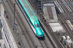 Top view of  the E5 Series bullet (High-speed) train. Royalty Free Stock Images