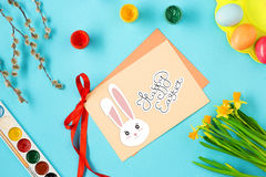 The top view of easter on blue table office workplace Stock Photo