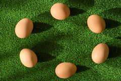 Top view of easter decoration - eggs arranged in a circle, on green background stock images