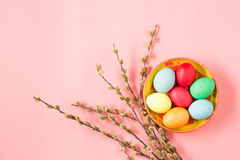 The top view of easter on pink table office workplace Stock Photography