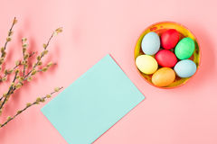 The top view of easter on pink table office workplace Stock Photos