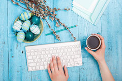 The top view of easter on wooden table office workplace Stock Photography