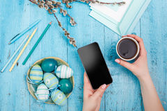 The top view of easter on wooden table office workplace Royalty Free Stock Images