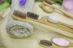 Top view eco friendly natural bamboo toothbrush place on wooden plates and toothpaste made from salt,charcoal and Aloe,concept. Reduce use plastic for stock photo