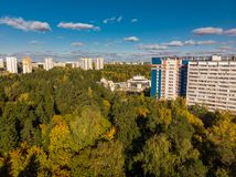 Top view on ecologically clean area of Moscow with autumn forest. Russia. Top view on an ecologically clean area of Moscow with autumn forest. Russia stock photo