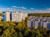 Top view on ecologically clean area of Moscow with autumn forest. Russia. Top view on an ecologically clean area of Moscow with autumn forest. Russia royalty free stock photography