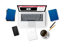 Top view education workplace isolated royalty free illustration