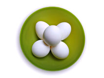 top view of eggs in a bowl Stock Photo