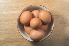 Top view of eggs in bowl. Thai Royalty Free Stock Images