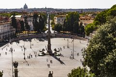 Top view of Egyptian Obelisk in Piazza del Popolo, Rome Stock Photo