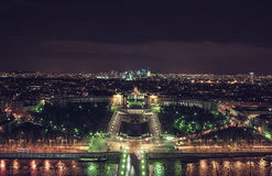 Top view from the Eiffel Tower on the night panorama of Paris. City lights. View of the palace of Chaillot and the square of the Trocadero Royalty Free Stock Photo