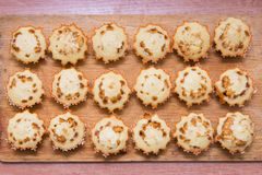 Top view eighteen freshly baked muffins stuffed with boiled condensed milk Royalty Free Stock Photos