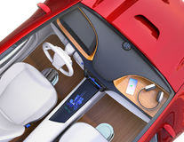 Top view of electric car interior Royalty Free Stock Image