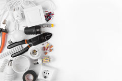 Top view of electrical tools and equipment on white stock image
