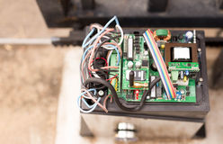 Top view Electronic Gate control system motor. With wires industrial royalty free stock photography
