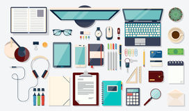 Top view elements. Desk background with laptop. Workplace concept. Flat design modern vector illustration. Top view of desk background with laptop, digital Stock Photography
