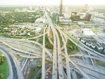 Top view elevated highway stack interchange and Houston skylines royalty free stock photos