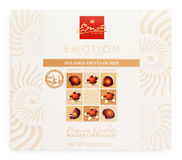 Top view of Emoti de Chocolat box - belgian seashells chocolate isolated on white Royalty Free Stock Image