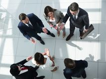 Top view. employees discussing important issue royalty free stock photos