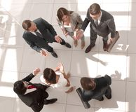 Top view. employees discussing important issue stock photography