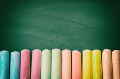 Top view of empty blackboard with colorfull chalks Royalty Free Stock Images