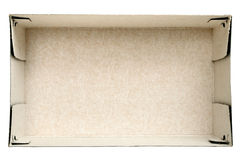 Top view on empty cardboard box stock images