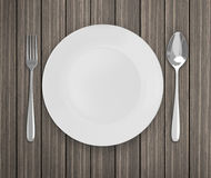 Top View Empty Dish On Table Background. Top View Empty Dish On The Table Background royalty free stock image