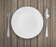 Top View Empty Dish On Table Background. Top View Empty Dish On The Table Background royalty free stock photography