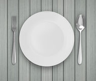 Top View Empty Dish On Table Background. Top View Empty Dish On The Table Background Royalty Free Stock Photos