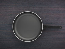 Top View Empty Pan On Table Background. Top View Empty Pan On The Table Background Stock Photo