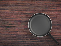 Top View Empty Pan On Table Background. Top View Empty Pan On The Table Background Stock Image